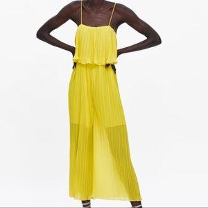 Zara Spaghetti Strap Pleated Jumpsuit Size Small